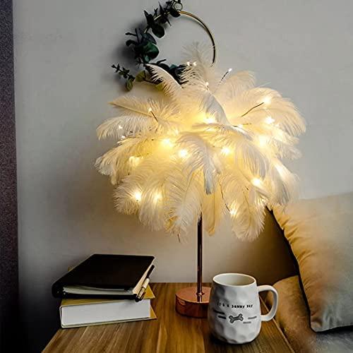 wwssgg USB de ormitorio luz de noche de plumas regalo creativo decoración de la habitación luz de decoración adecuada para los regalos de Pascua y Navidad de los niños