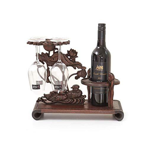 LYLSXY Estanterías de Vino, Titular de la Taza de Suspensión de Secoya Pantalla de Vino Pantalla de Vidrio para Vino Tenedor de Botella de Vino Chino 34 X 18 X 36Cm
