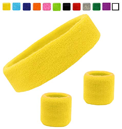 Kenz Laurenz Sweatband Set Cotton Sports Headband Terry Cloth Wristband Moisture Wicking Sweat Absorbing Head Band Athletic Exercise Basketball Wrist Sweatbands and Headbands (Yellow)