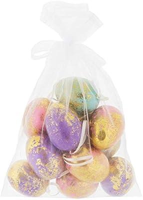 Stag Lane Primitives New Set Lot 12 Spring Bright Gold Foil Easter Eggs Ornaments w/