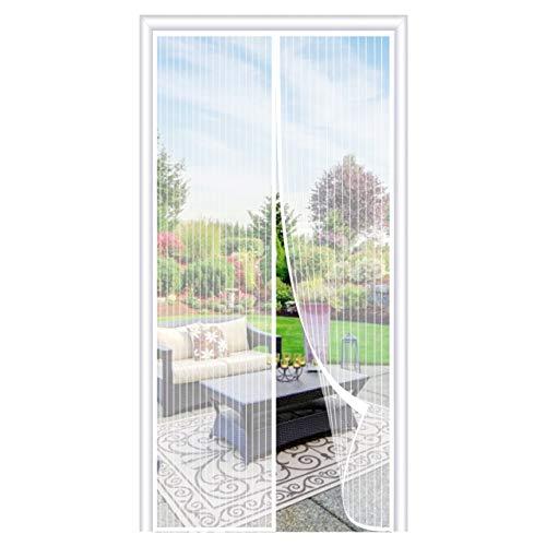 OOWOLF Magnet Fliegengitter Balkontür 100 × 220cm, Magnet Fliegengitter Tür Insektenschutz ohne Bohren, 36 Stück Magnete Automatisch schließen, für Balkontür, Terrassentür, Wohnzimmer, Weiß