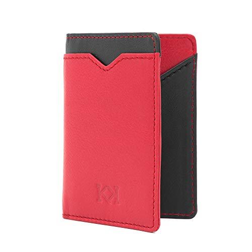 KOSETI - Cartera Hombre Roja Minimalista | Tarjetero, Billetero, Monedero Secreto | Fabricada en España | Piel de Vacuno Autentica | Premium | 9 Tarjetas | Protección RFID y NFC