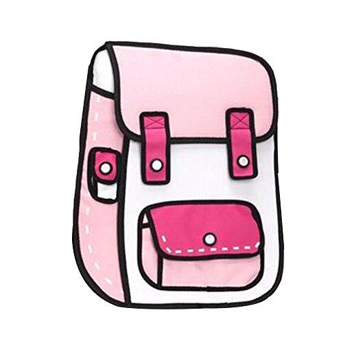Bolange Bolso de escritorio de hombro Cómic 3D Moda y novedad (polvo ligero con rosa roja)