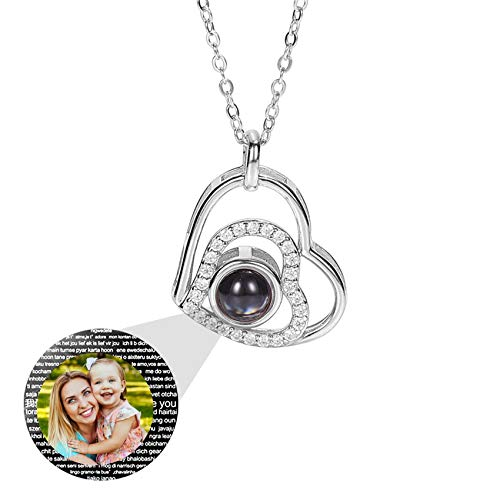 Projection Necklace Heart Necklace Personalized Photo Necklace 100 Languages I Love You Promise Pendant 925 Sterling Silver Mother's Day Personalized Gift for Woman(Silver Full Color 22)