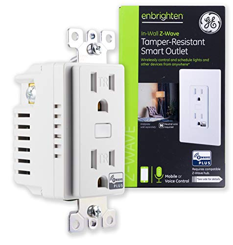 GE 14288 Enbrighten Z-Wave Plus Smart Receptacle, Works with Alexa, Google Assistant, Tamper-Resistant, 1 ZWave 1 Always On Outlet Hub Required, White
