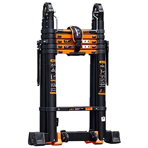 Teleskopleiter Leiter Aluleiter Treppenleiter Mächtige Multi-Teleskopleiter, Mehrzweck-Aluminium-Klapp-A-Rahmen-Verlängerungsleitern für Dachbodentreppen, Unterstützt 150kg