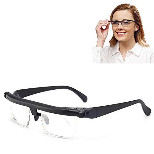 Einstellbarer Fokus Lesebrille Vergrößerungsbrille -6Dto + 3D Dioptrien Variable Objektivkorrektur Brille Computer Lesen Fahren Brille (mit Reißverschluss Brillenetui)