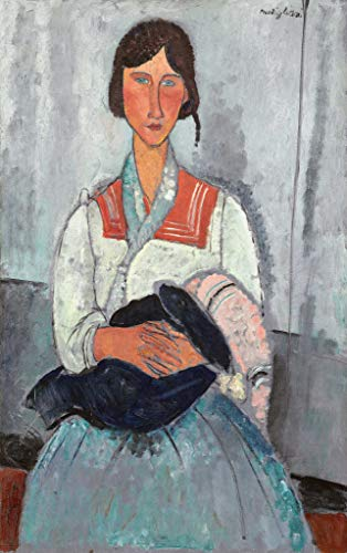 """kunst für alle Art Print/Poster: Amedeo Modigliani Gypsy Woman with Baby 1919"""" Picture, Fine Art Poster, 21.7x35.4 inch / 55x90 cm"""
