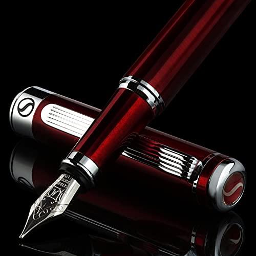 Scriveiner Deep Crimson Red Fountain Pen - Stunning Luxury Pen with Chrome Finish, Schmidt Nib (Medium), Best Pen Gift Set for Men & Women, Professional, Executive, Office, Nice Pens