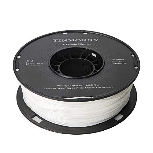Filament TPU 1,75 mm, TINMORRY 3D Druckmaterialien, TPU Filament für FDM 3D Drucker, 1 kg 1 Spule, Weiß