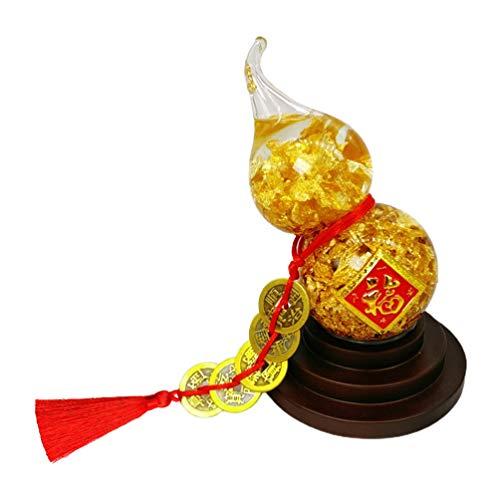 SOIMISS Estatua de Calabaza China con Suerte Monedas de La Fortuna Crystal Feng Shui Ornamento Amuleto de La Suerte Decoración Antigua Adorno de Mesa para La Riqueza Año Nuevo Festival de