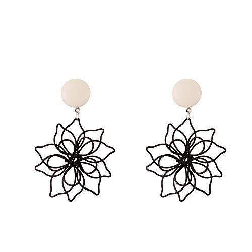 S925 Pendientes de flor de doble hueco negro con temperamento de aguja de plata Pendientes de niña súper hada de pétalos grandes
