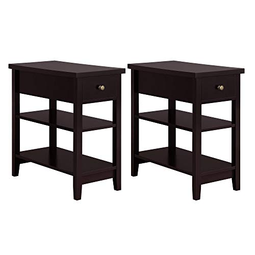 YAHEETECH 3 Tier End Table Sofa Side Table with Double Shelves and 1 Drawer - Coffee Table for Living Room, Set of 2, Espresso
