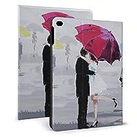 iPad 9.7インチ 2017/2018/Air1/Air2 ケース スマートカバー 手帳型 高級PUレザー製 軽量 全面保護 衝撃吸収 傷つけ防止 多角度調整 ザー オートスリープ&スタンド機能付き (雨の中の愛)