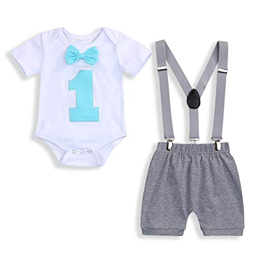 GRNSHTS Baby Boy Funny First Birthday Clothes Infant Boy Bow Tie Romper Bodysuit Cake Smash Outfits (Light Blue, 9-12 Months)