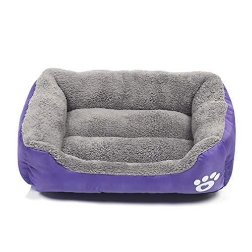 YLWL Huellas de Felpa Nido para Mascotas Perrera para Mascotas Gato Nido para Perros cálido Suave cojín de Cama para Dormir para Mascotas casa para Gatos Perrera para Perros (púrpura M 55 * 45 cm)