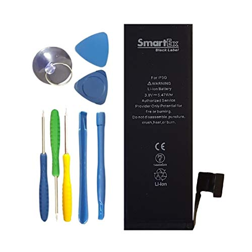 Smartex® New Black Label Akku Batterie Ersatz kompatibel mit iPhone 5 | Reparatursatz enthalten | 1440 mAh | 2 Jahre Garantie
