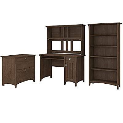 Bush Furniture Salinas Mission Desk with Hutch, Lateral File Cabinet and 5 Shelf Bookcase