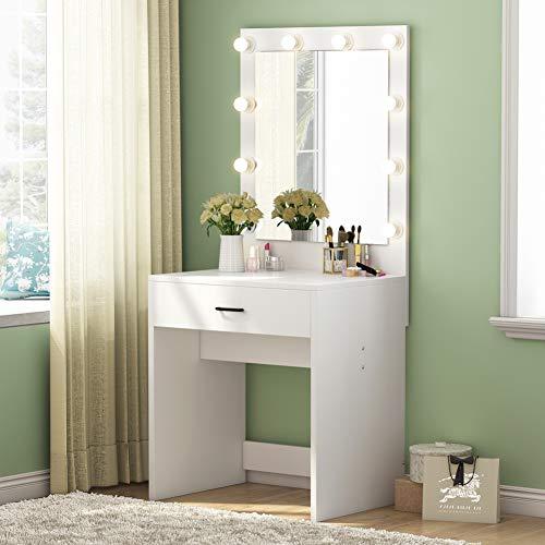 Tribesigns Vanity Set with Lighted Mirror, Makeup Vanity Dressing Table Dresser Desk -