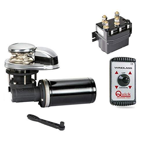 BTK Kit Quick Salpa Ancla Cabrestante CL1 Eléctrico de 500 W 12 V por cadena de 6 mm y mando a distancia para barco náutico, bote de mar