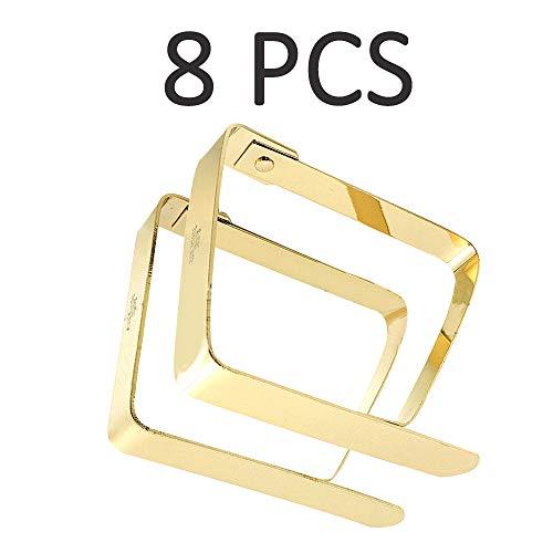 YINSONG 8 Stück Tischlammern aus Edelstahl - Verstellbare Tischklammer Tisch Picknick im Freien Feste Tischtuchklammern Tischtuchhalter, 8.2 x 7cm/Gold A