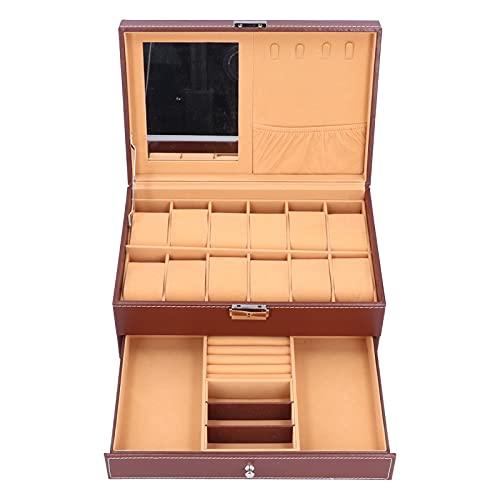 Caja de almacenamiento de joyería para reloj, caja de joyería de cuero impermeable Caja de almacenamiento de reloj de cuero 12 compartimentos grandes con llave para tocador de guardarropa,