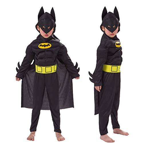 PICCOLI MONELLI Costume Bat Man Bambino 7-10 Anni Vestito Super Eroi Uomo Pipistrello di Carnevale Caldo con Muscoli Altezza Bimbo 120-130 cm