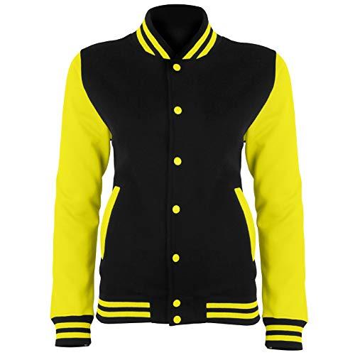 AWDis Electric Varsity Jacke - College Baseball Bright Fleece - Jet Schwarz/elektrisch Yellow (XL)