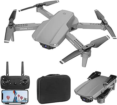 ZHCJH GPS WiFi FPV Drone con cámara Dual 4K Drones para Adultos RC Quadcopter Gesto Foto Trayectoria Vuelo Una tecla para regresar a casa Altura Fija Negro 2 baterías