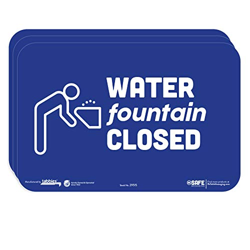 tabbies BeSafe Messaging'Water Fountain Closed', 3-Pack 9'x6', Bright Bold Blue, Repositionable Educational Safety Signs, Perfect for Most Surfaces: Glass, Metal, Painted Surfaces (29515)