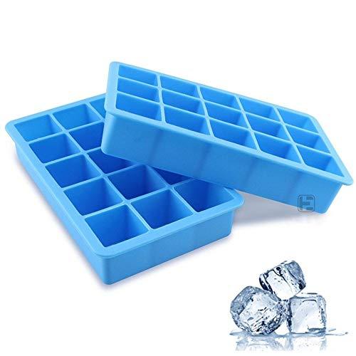 Siliconen ijsblokjesbakje, 15 roosters, ijsblokjeshouder, ijsblokjesvorm, baby-voedingssupplement whisky cocktailvruchten ijsblokjes om zelf te maken (2 pakketten) Blauw