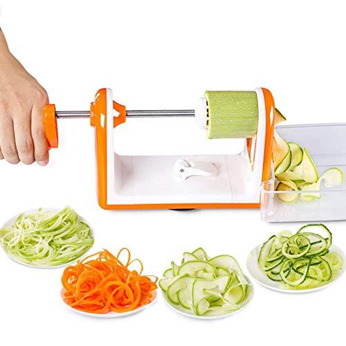 MIEMIE Gemüseschneider Multifunktions-Sicherheitsspiralisator 5-Blatt-Gemüsespiralisierer Hochleistungs-Spiralschneider Zucchini-Nudel-Gemüsehersteller Rutschfester Saugnapf