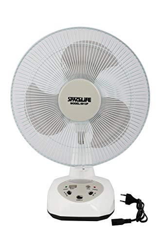 SPACELiFE 12 Inch Rechargeable Table Fan (Color May very)