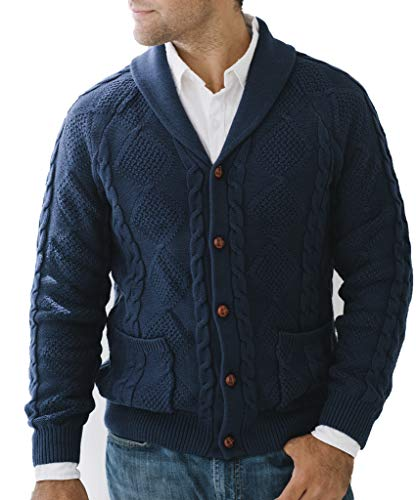 Hope & Henry Men's Shawl Collar Cable Knit Cardigan Sweater Navy