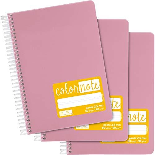 Grafoplás 98537353. Pack de 3 Cuadernos Escolares A5, Pauta 2,5mm, Tapas Polipropileno, Color Rosa, Serie Color Note
