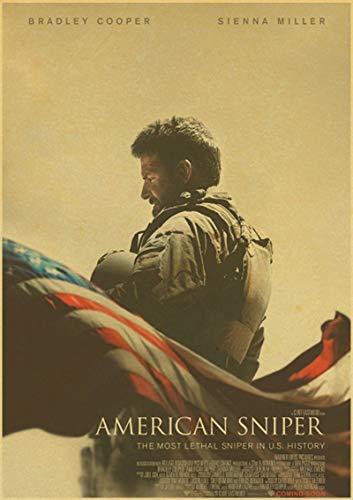 H/F American Sniper Bradley Cooper Movie Retro Canvas Poster DIY Nordic Style Home Living Room HD Art Deco Pintura Al Óleo Mural Sin Marco50X60Cm 4933L