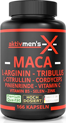 aktivmen's -X- MACA schwarz - 166 Kapseln - L-Arginin, L-Citrullin, Cordyceps, Tribulus, Pinienrinden Extrakt, Selen, Vitamin C + B5, Zink, 1 Dose (1 x 138,4 g) aktivmen's -X- erlebe was Spaß macht!