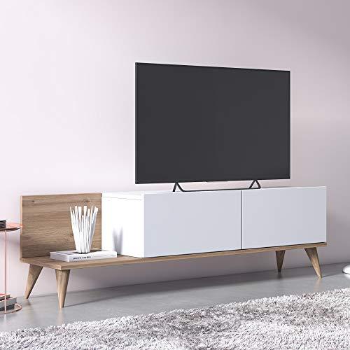 Dmora Mobile da Soggiorno Porta TV con Due Ante a ribalta, cm 152 x 35 x 43, Colore Quercia e Bianco