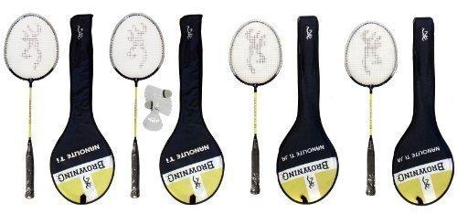 Browning - 4 racchette da badminton Nanolite, 2 junior e 2 per adulto + 3 volani
