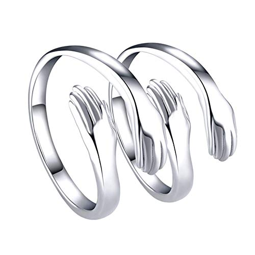 KANUBI Hug Ring, Adjustable Open Rings for Couple, Silver Color Rings for Women and Men (women ring)