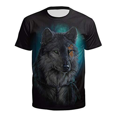 XIAOBAOZITXU 3D Digitaldruck T-Shirt Kurze Ärmel Rundhalsausschnitt Wolfskopf Sommerkleidung Für Männer Und Frauen Lose Sportmode Großes T-Shirt M
