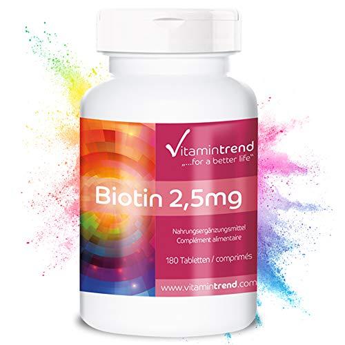 Biotin hochdosiert 2,5mg - 180 vegane Tabletten für 6 Monate – Hergestellt in Deutschland