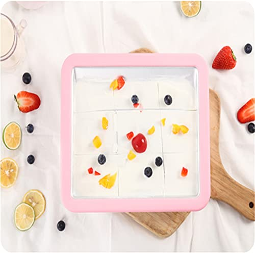 XZJJZ Mini Fabricante de Helados Historieta Máquina de Hielo Frito Máquina de Yogurt Frito Pan sobre LA MÁQUINA DE Yogur DE Yogur con FRAZADOS
