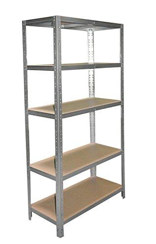 Schwerlastregal 180 x 30 x 60 cm mit 5 Böden Stecksystem aus Metall verzinkt: Metallregal geeignet als Kellerregal, Lagerregal, Archivregal, Ordnerregal, Werkstattregal