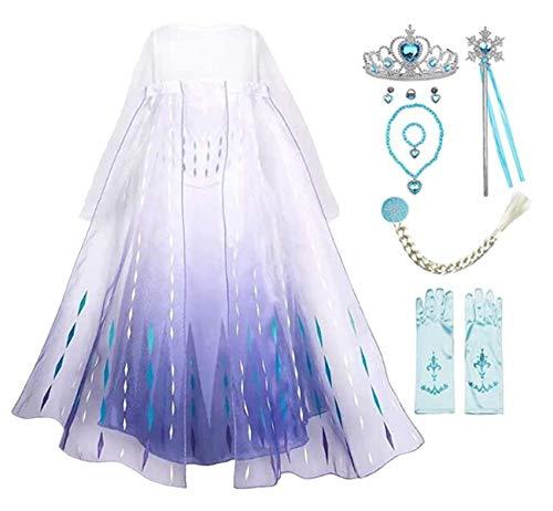 Emin Elsa - Disfraz de reina del hielo 2 Elsa para niña,...