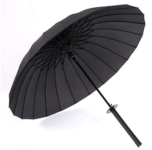 WANGYONGQI Schwarzer japanischer Samurai Ninja Schwert Katana Umbrella Sunny & Rainny Regenschirme mit langem Griff Halbautomatik 8, 16 oder 24 Rippen,24k