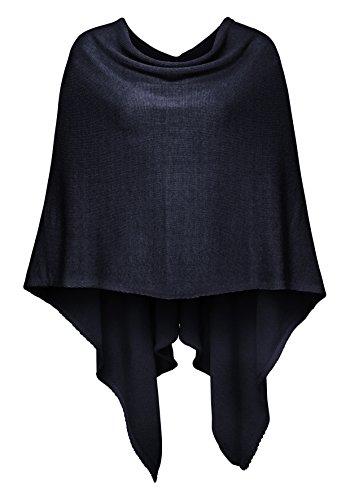 Cashmere Dreams Poncho-Schal aus Baumwolle - Hochwertiges Cape für Damen - Umhängetuch und Tunika - Strick-Pullover - Sweatshirt - Stola für Sommer und Winter Zwillingsherz,Einheitsgröße,Dunkelblau