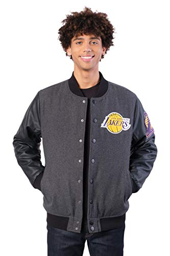 Ultra Game NBA Los Angeles Lakers Mens Full Zip Classic Varsity Jacket, Charcoal Heather, Small image