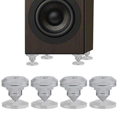 M ugast 4PCS Speaker Stand Feet Spike, stootvaste isolatie HiFi verchroomde spike van puur koper met basispad voor versterker, CD-speler, DAC, HiFi-luidspreker
