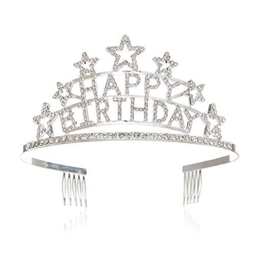 SWEETV Happy Birthday Anniversaire Couronne Diadème Fille Enfant Accessoires de Coiffure Chapeau de Fête avec Peignes, Argent